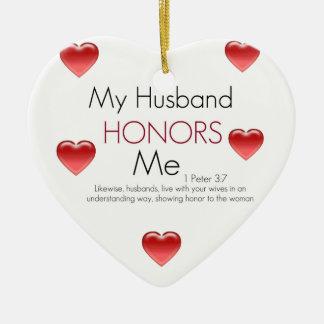 My Husband Honors Me/ Valentine Ceramic Heart Decoration