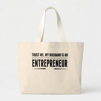 My Husband Is An Entrepreneur Jumbo Tote Bag