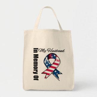 My Husband Memorial Patriotic Ribbon Bag