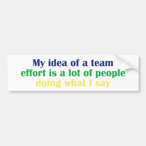 My Idea of a Team Effort... Bumper Sticker