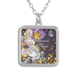 My imagination is endless silver plated necklace