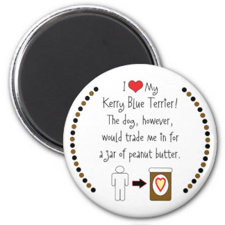 My Kerry Blue Terrier Loves Peanut Butter 6 Cm Round Magnet