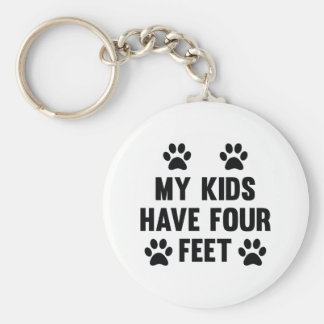 My Kids Have Four Feet Basic Round Button Key Ring