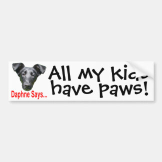 My kids have paws bumper sticker