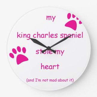 My King Charles Spaniel Heart Large Clock