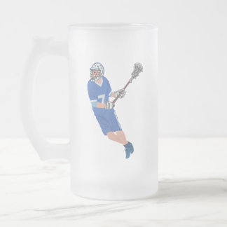 my lacrosse male player frosted glass beer mug
