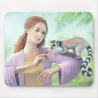 My Lemur Friends - Girl with Ring-tailed Lemurs Mouse Pad