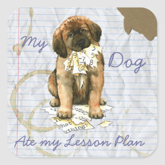 My Leonberger Ate My Lesson Plan Square Sticker
