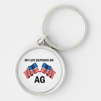 My Life Depends On AG Silver-Colored Round Key Ring