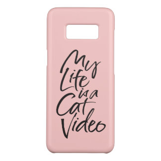 My Life is a Cat Video Black Lettering Blush Pink Case-Mate Samsung Galaxy S8 Case