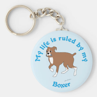 My Life is Ruled By My Boxer Basic Round Button Key Ring