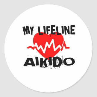 MY LIFE LINA AIKIDO MARTIAL ARTS DESIGNS CLASSIC ROUND STICKER