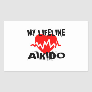 MY LIFE LINA AIKIDO MARTIAL ARTS DESIGNS RECTANGULAR STICKER