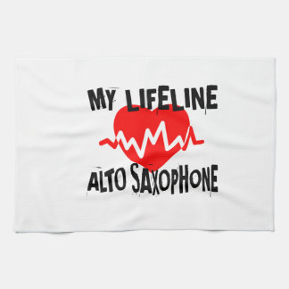 MY LIFE LINA ALTO SAXOPHONE MUSIC DESIGNS TEA TOWEL