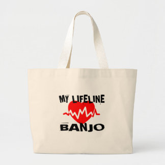 MY LIFE LINA BANJO MUSIC DESIGNS LARGE TOTE BAG