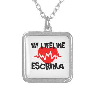 MY LIFE LINA ESCRIMA MARTIAL ARTS DESIGNS SILVER PLATED NECKLACE