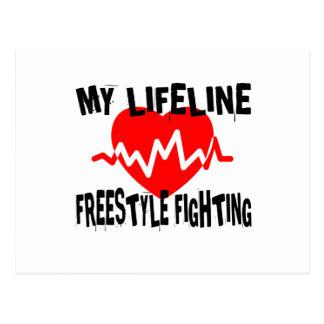 MY LIFE LINA FREESTYLE FIGHTING MARTIAL ARTS DESIG POSTCARD