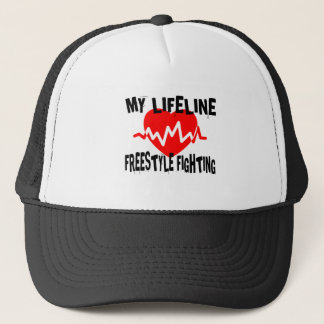 MY LIFE LINA FREESTYLE FIGHTING MARTIAL ARTS DESIG TRUCKER HAT