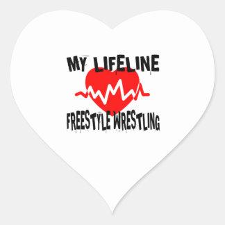 MY LIFE LINA FREESTYLE WRESTLING MARTIAL ARTS DESI HEART STICKER