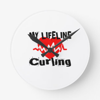 My Life Line Curling Sports Designs Round Clock