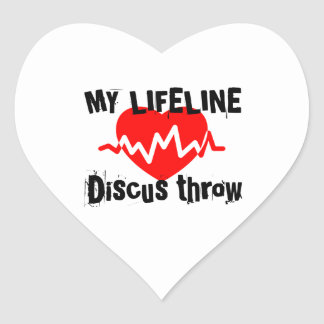 My Life Line Discus throw Sports Designs Heart Sticker