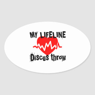 My Life Line Discus throw Sports Designs Oval Sticker