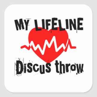 My Life Line Discus throw Sports Designs Square Sticker