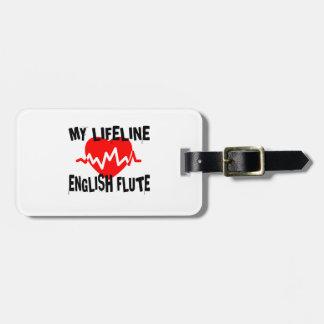 MY LIFE LINE ENGLISH FLUTE MUSIC DESIGNS LUGGAGE TAG