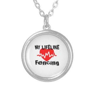My Life Line Fencing Sports Designs Silver Plated Necklace