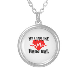 My Life Line Hand Ball Sports Designs Silver Plated Necklace