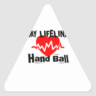 My Life Line Hand Ball Sports Designs Triangle Sticker
