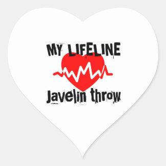 My Life Line Javelin throw Sports Designs Heart Sticker