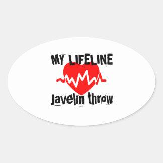 My Life Line Javelin throw Sports Designs Oval Sticker