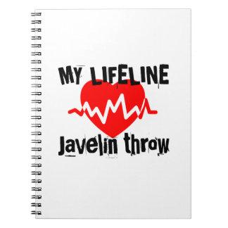 My Life Line Javelin throw Sports Designs Spiral Notebook