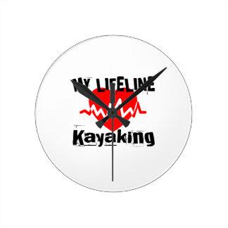 My Life Line Kayaking Sports Designs Round Clock