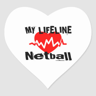 My Life Line Netball Sports Designs Heart Sticker