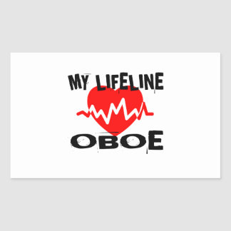 MY LIFE LINE OBOE MUSIC DESIGNS RECTANGULAR STICKER