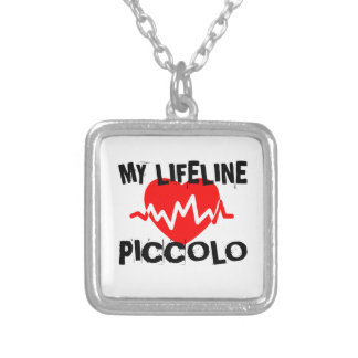 MY LIFE LINE PICCOLO MUSIC DESIGNS SILVER PLATED NECKLACE