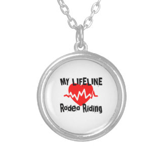 My Life Line Rodeo Riding Sports Designs Silver Plated Necklace