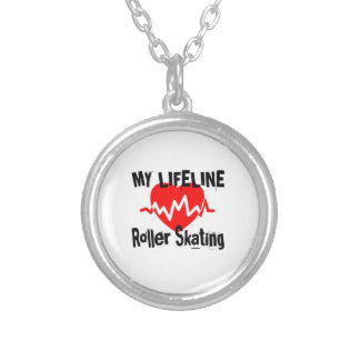 My Life Line Roller Skating Sports Designs Silver Plated Necklace