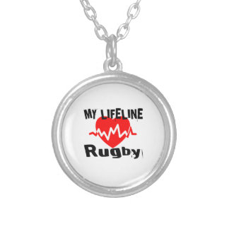 My Life Line Rugby Sports Designs Silver Plated Necklace