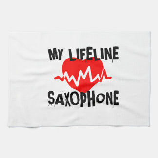 MY LIFE LINE SAXOPHONE MUSIC DESIGNS TEA TOWEL