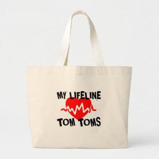 MY LIFE LINE TOM TOMS MUSIC DESIGNS LARGE TOTE BAG