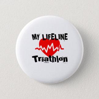 My Life Line Triathlon Sports Designs 6 Cm Round Badge
