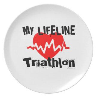 My Life Line Triathlon Sports Designs Plate