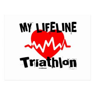 My Life Line Triathlon Sports Designs Postcard