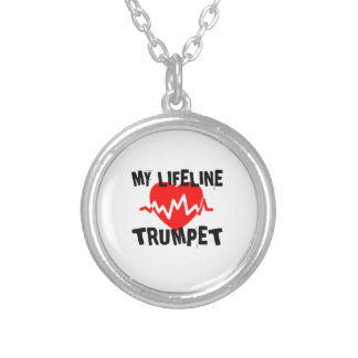 MY LIFE LINE TRUMPET MUSIC DESIGNS SILVER PLATED NECKLACE