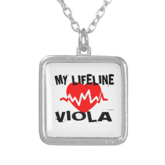 MY LIFE LINE VIOLA MUSIC DESIGNS SILVER PLATED NECKLACE