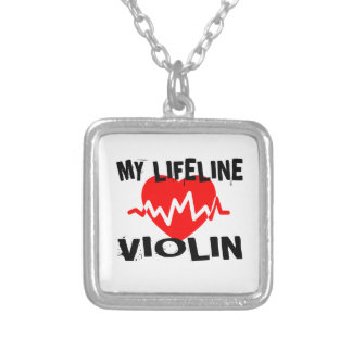 MY LIFE LINE VIOLIN MUSIC DESIGNS SILVER PLATED NECKLACE