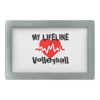 My Life Line Volleyball Sports Designs Rectangular Belt Buckles